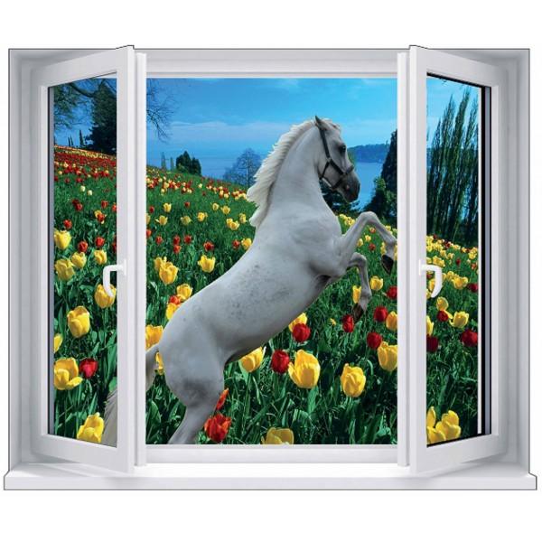 Sticker cheval blanc cambrer champ tulipes for Fenetre en trompe l oeil