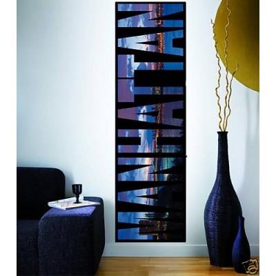 sticker d coration murale lettres manhattan. Black Bedroom Furniture Sets. Home Design Ideas