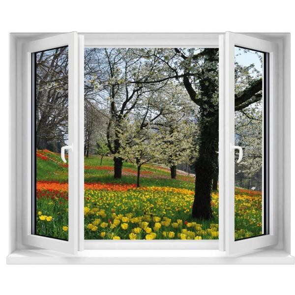 Sticker trompe l 39 oeil fen tre champ de tulipes for Trompe l oeil fenetre ouverte