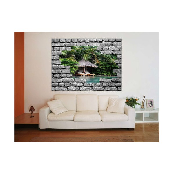 sticker trompe l 39 oeil mur de pierre 75x100 cm stickersmania. Black Bedroom Furniture Sets. Home Design Ideas