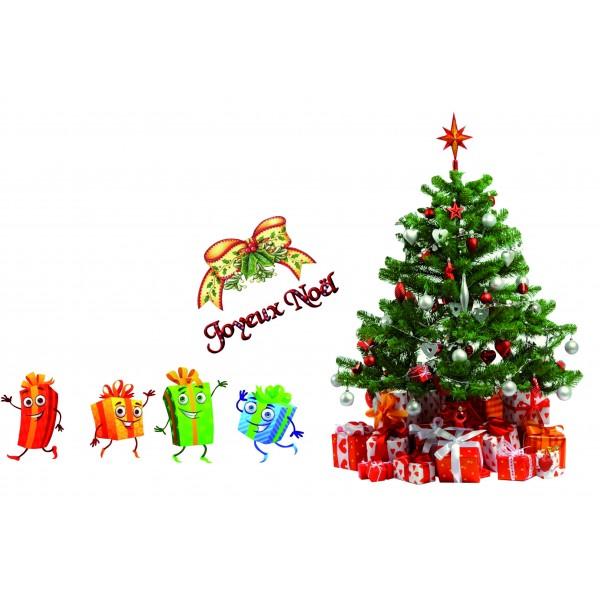Sticker Autocollant Cadeaux Et Sapin