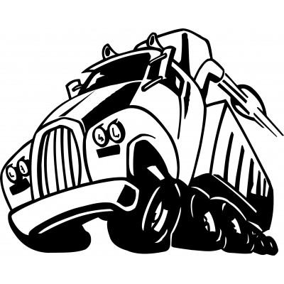 Sticker autocollant camion noir et blanc - Stickers muraux noir et blanc ...