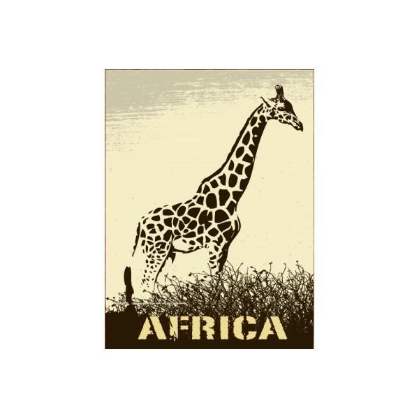 Sticker autocollant décoration Africa Girafe noir et blanc