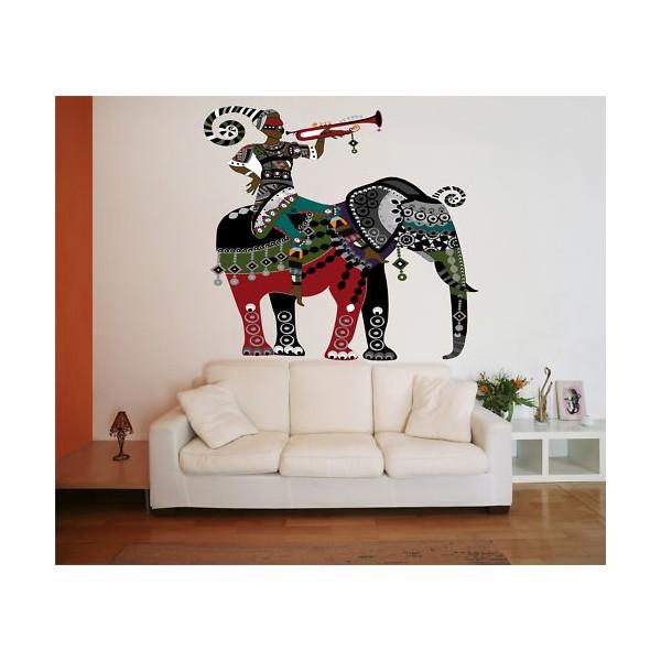 sticker d co l phant afrique color. Black Bedroom Furniture Sets. Home Design Ideas
