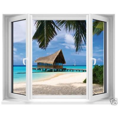 Sticker trompe l 39 oeil fen tre maldives for Poster trompe oeil fenetre