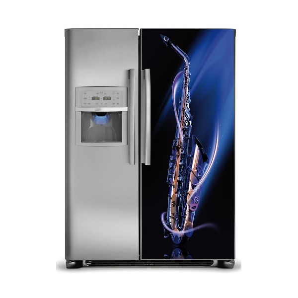 sticker d coration frigidaire am ricain saxophone. Black Bedroom Furniture Sets. Home Design Ideas