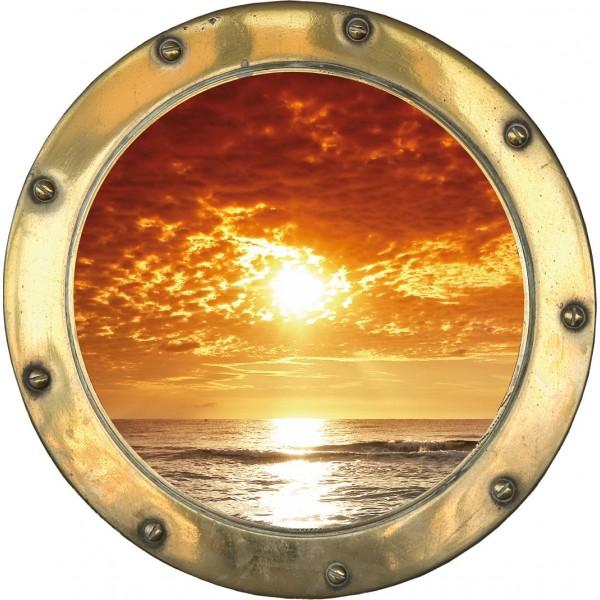 Sticker trompe l/'oeil déco Couché de soleil réf:hublot 1106