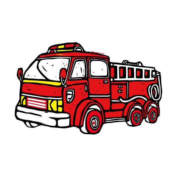 stickers enfants camion de pompier 80x127 cm stickersmania. Black Bedroom Furniture Sets. Home Design Ideas