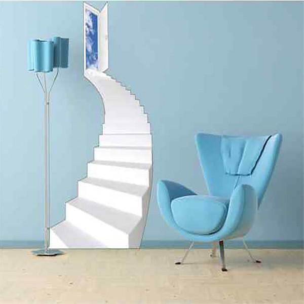 stickers trompe l il escalier arrondi. Black Bedroom Furniture Sets. Home Design Ideas