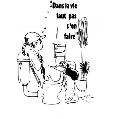 Sticker abattant wc dessin noir et blanc