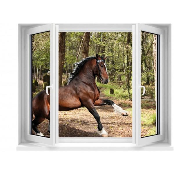 Sticker trompe l 39 oeil fen tre d co cheval for Fenetre 120x100