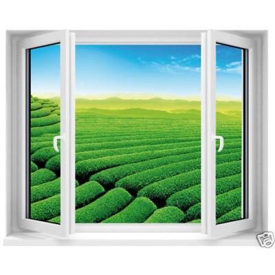 Sticker fen tre avec vue sur jardin anglais 100x80cm for Fenetre 90x60