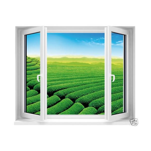 Sticker fen tre avec vue sur jardin anglais 100x80cm for Fenetre en anglais