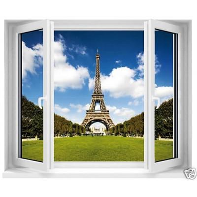 sticker trompe l 39 oeil fen tre tour eiffel. Black Bedroom Furniture Sets. Home Design Ideas
