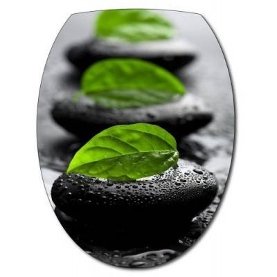 Sticker abattant wc galets noirs et feuilles verte for Galets decoratifs noirs