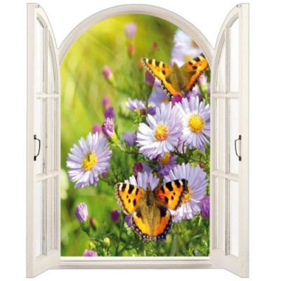Sticker trompe l 39 oeil fen tre d co nature for Fenetre 90x60
