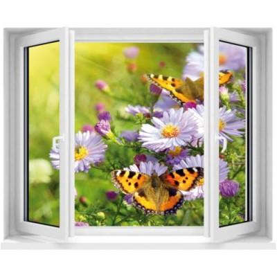 Sticker trompe l 39 oeil fen tre papillons for Poster trompe oeil fenetre