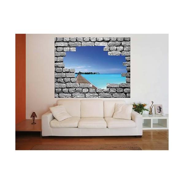 mur trompe l oeil uniquebella poster mural en vinyle auto adhsif xcm trompe luoeil fentre grand. Black Bedroom Furniture Sets. Home Design Ideas