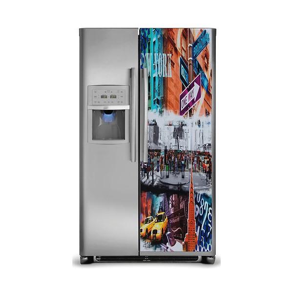 sticker d co autocollante frigo am ricain new york 170x70 cm stickersmania. Black Bedroom Furniture Sets. Home Design Ideas