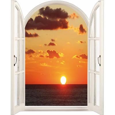 Sticker trompe l il fen tre soleil couchant for Fenetre soleil