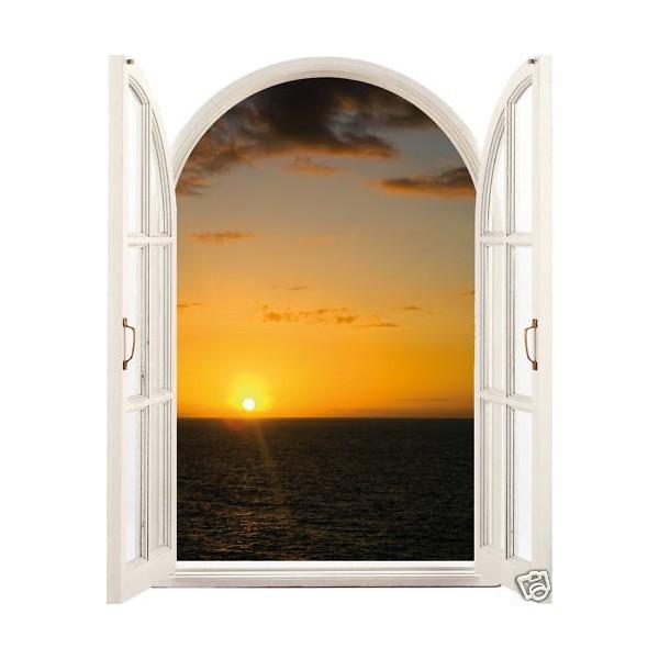 Sticker trompe l 39 oeil fen tre coucher de soleil for Fenetre soleil