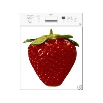 sticker autocollant lave vaisselle fraise croquer rouge. Black Bedroom Furniture Sets. Home Design Ideas