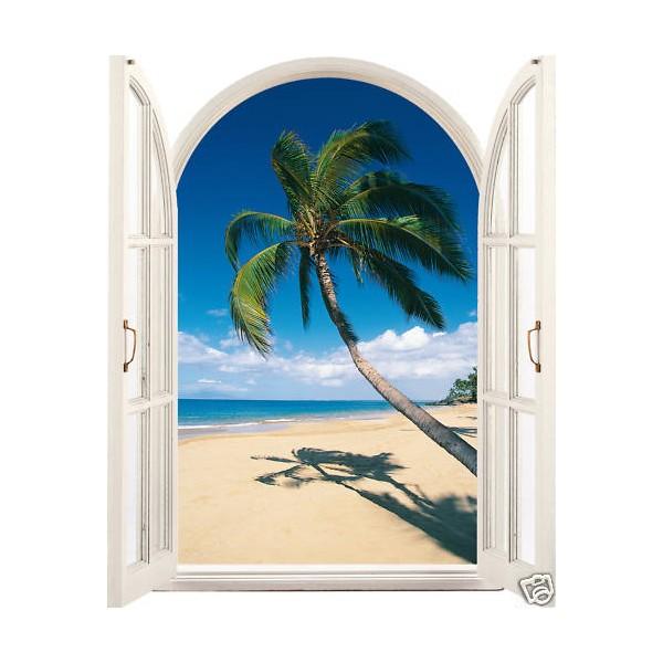 Sticker trompe l 39 oeil d co palmier bord de mer for Bord de fenetre kite