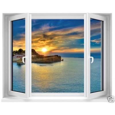 sticker trompe l 39 oeil fen tre vue sur mer. Black Bedroom Furniture Sets. Home Design Ideas