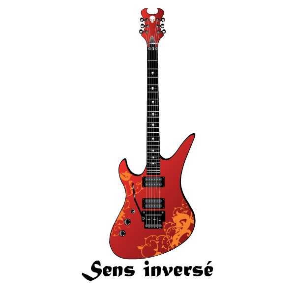 sticker guitare lectrique rouge stickersmania. Black Bedroom Furniture Sets. Home Design Ideas