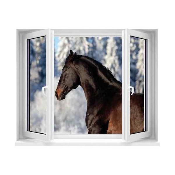 Sticker trompe l il fen tre cheval 100x120 cm stickersmania for Fenetre 120x100