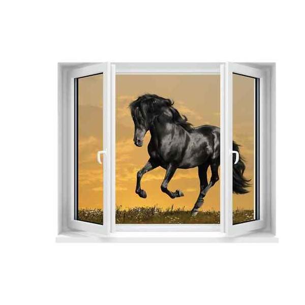 Sticker trompe l il fen tre d co cheval for Fenetre 120x100