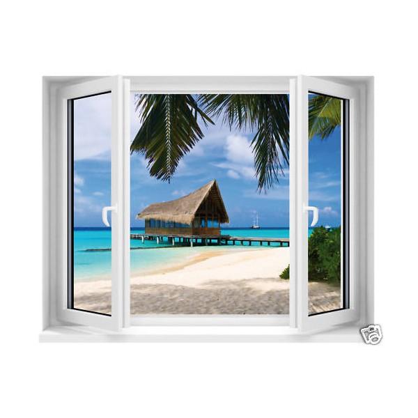 sticker trompe l 39 oeil fen tre maldives