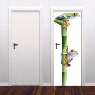 Sticker d coration porte deux grenouilles for Decoration porte sticker