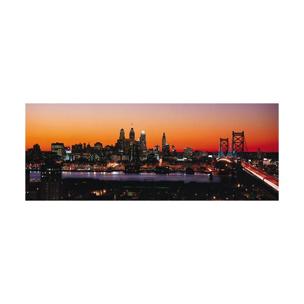 Sticker panoramique new york coucher de soleil for Autocollant mural new york
