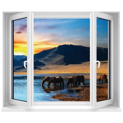 Sticker trompe l 39 oeil fen tre vue sur chevaux 120x100 cm for Fenetre 90x60