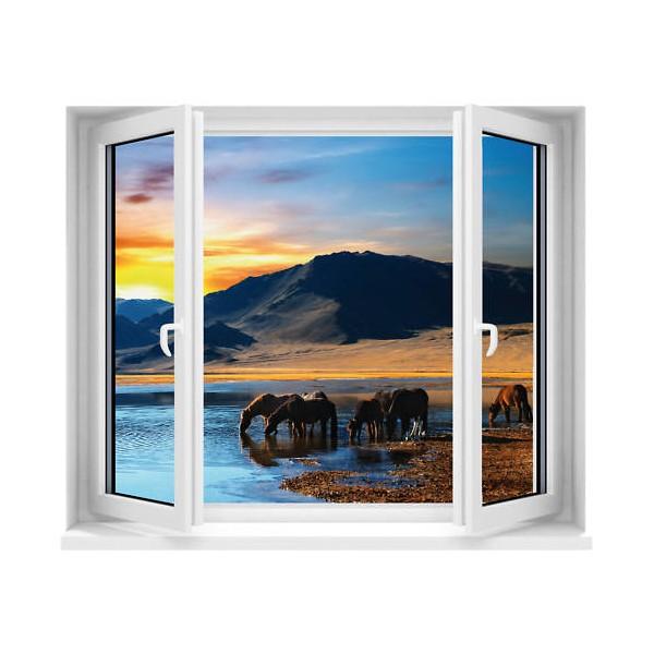Sticker trompe l 39 oeil fen tre vue sur chevaux 120x100 cm for Fenetre 120x100