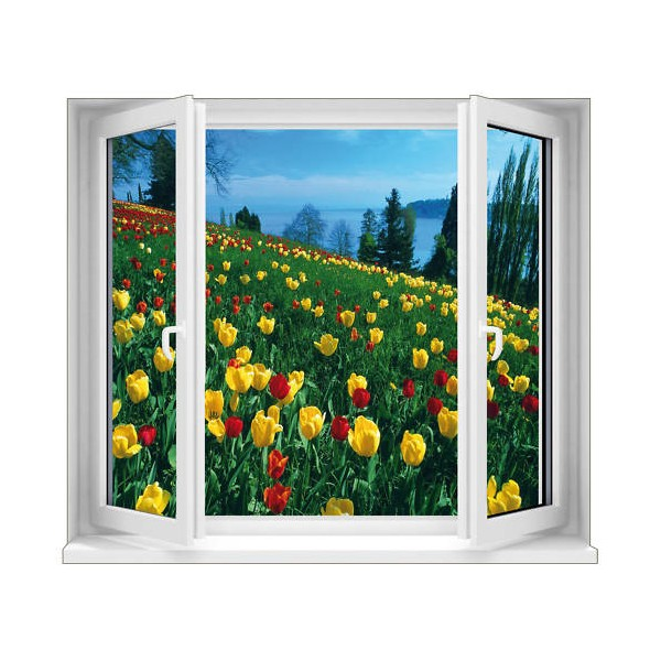 Sticker trompe l 39 oeil fen tre vue sur tulipes 125x100 cm for Fenetre 90x60