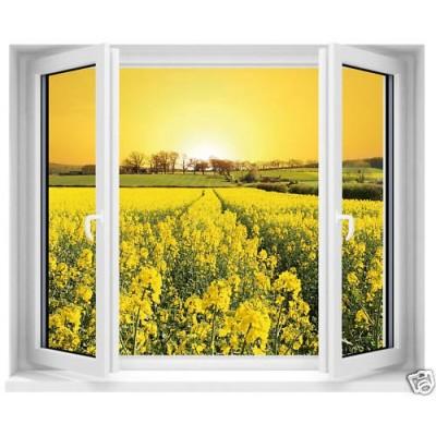 Sticker trompe l 39 oeil fen tre fleurs jaunes 120x100 cm for Fenetre 90x60