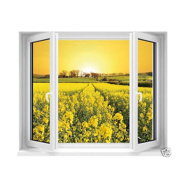 sticker trompe l 39 oeil fen tre fleurs jaunes