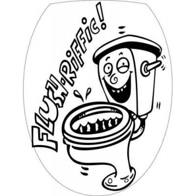 Sticker abattant wc dessin noir et blanc - Abattant wc noir et blanc ...