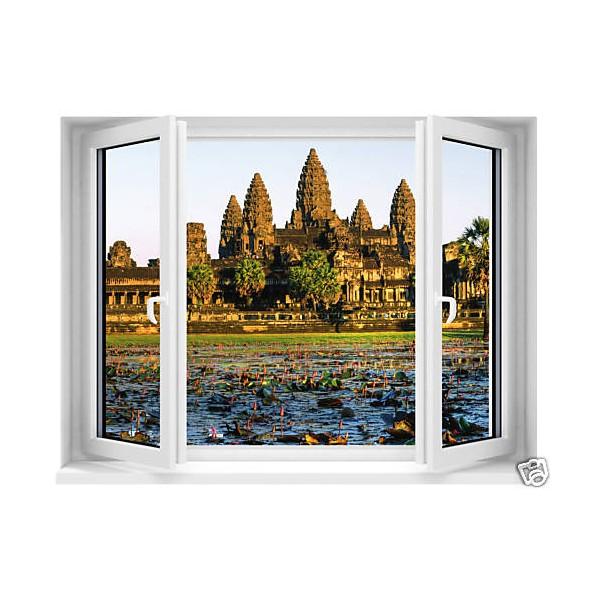 Sticker fen tre trompe l 39 oeil temple d 39 angkor 120x91cm for Fenetre 90x60